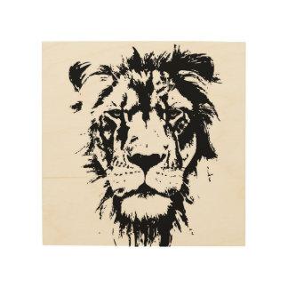 白黒プリントのライオンとの木製の壁の芸術 ウッドウォールアート