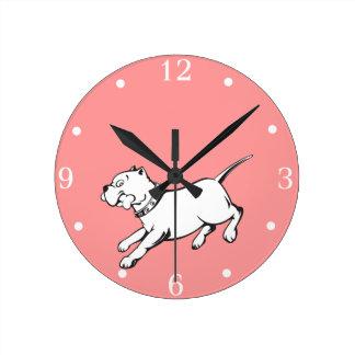 白黒ベクトル芸術のピット・ブルの犬壁の時計 ラウンド壁時計