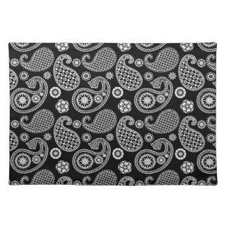 白黒ペイズリーパターン ランチョンマット