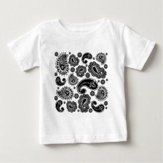 白黒ペイズリー ベビーTシャツ