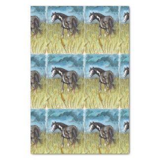 白黒ペンキの馬の水彩画の芸術 薄葉紙
