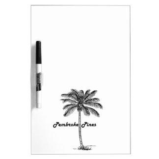 白黒ペンブロークのマツ及びやしデザイン ホワイトボード