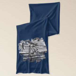 白黒ポンピングユニット(Pumpjack)のイメージ スカーフ