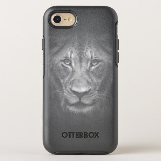 白黒ポートレートの上のライオンの顔の終わり オッターボックスシンメトリーiPhone 8/7 ケース