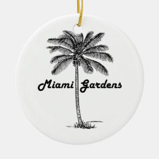 白黒マイアミの庭及びやしデザイン セラミックオーナメント