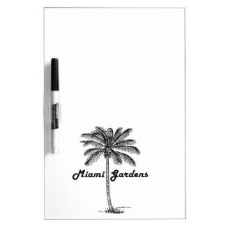 白黒マイアミの庭及びやしデザイン ホワイトボード