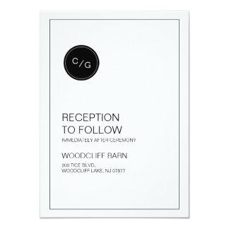 白黒モダンな結婚披露宴カード 11.4 X 15.9 インビテーションカード