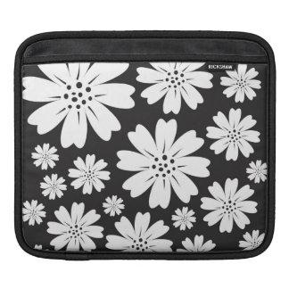 白黒モダンな花パターン iPadスリーブ