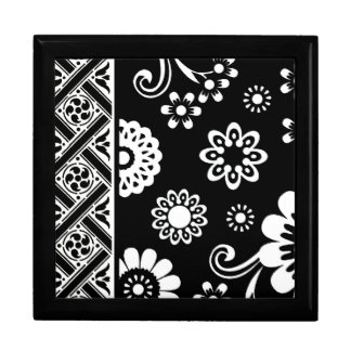 白黒モダンな花柄… lidded箱 ギフトボックス