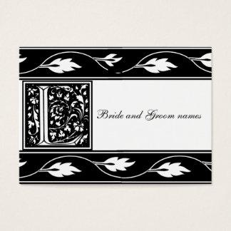 白黒モノグラムL花嫁の登録カード 名刺