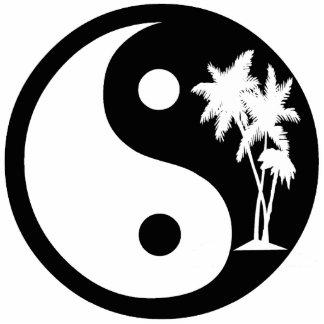 白黒ヤシの木の陰陽のオーナメント 写真彫刻オーナメント