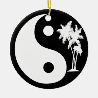 白黒ヤシの木の陰陽 セラミックオーナメント