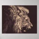 白黒ライオンの鉛筆の芸術のライオンのとどろき ポスター