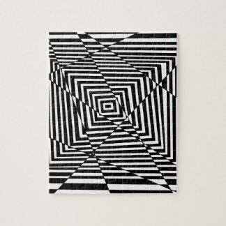 白黒ライン錯覚パターン ジグソーパズル