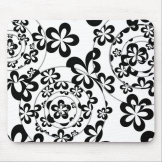 白黒リングおよび花 マウスパッド