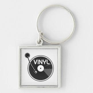 白黒レコードのターンテーブル キーホルダー