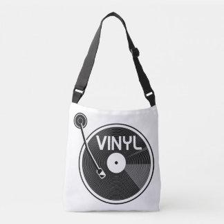 白黒レコードのターンテーブル クロスボディバッグ