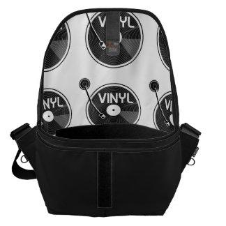 白黒レコードのターンテーブル メッセンジャーバッグ