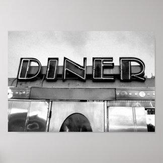 白黒レトロのダイナーの写真 ポスター
