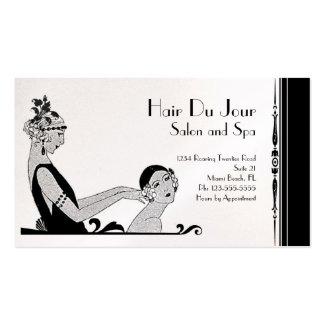 白黒ヴィンテージのアール・デコの美しいかファッション 名刺テンプレート