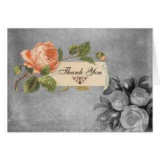 白黒ヴィンテージのバラは感謝していしています カード