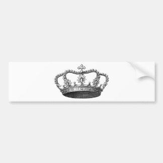 白黒ヴィンテージの王冠 バンパーステッカー
