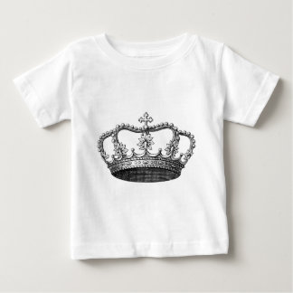白黒ヴィンテージの王冠 ベビーTシャツ
