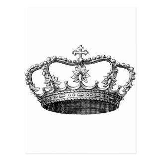白黒ヴィンテージの王冠 ポストカード