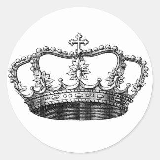 白黒ヴィンテージの王冠 ラウンドシール