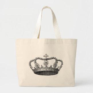 白黒ヴィンテージの王冠 ラージトートバッグ