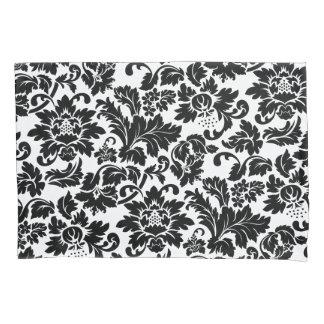 白黒ヴィンテージの花柄のダマスク織 枕カバー