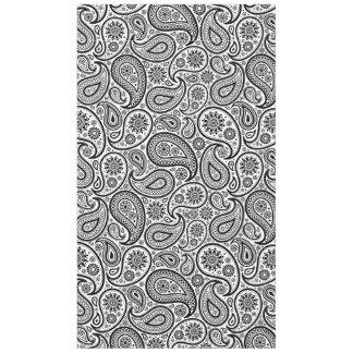 白黒ヴィンテージの花柄のペイズリー テーブルクロス