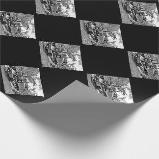 白黒ヴィンテージの蒸気の列車エンジン ラッピングペーパー