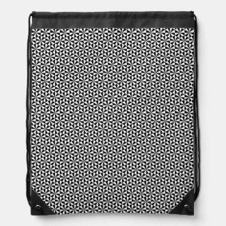 白黒三角形パターン ナップサック