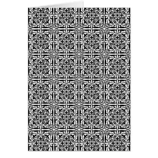 白黒中世ダマスク織のアヤメ カード