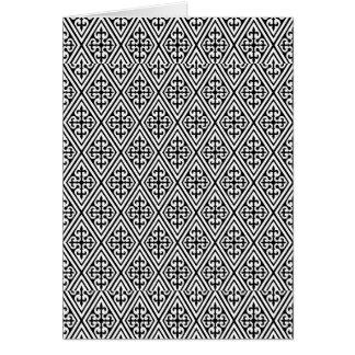 白黒中世ダマスク織のダイヤモンド カード