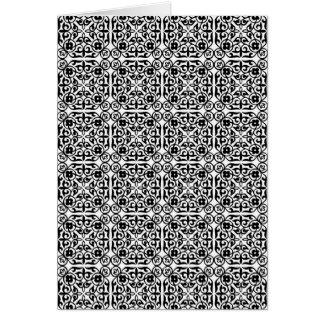 白黒中世ダマスク織パターン カード