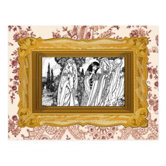 白黒中世ファッション ポストカード