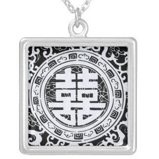 白黒中国のな二重幸福のペンダント シルバープレートネックレス