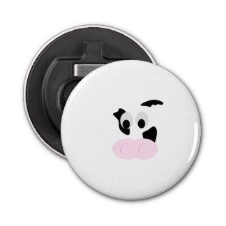 白黒乳牛またはウシの顔 栓抜き