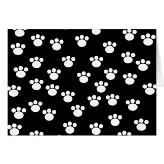 白黒動物の足のプリントパターン カード