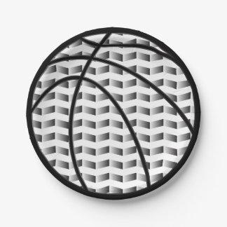 白黒勾配のバスケットボールの紙皿 ペーパープレート