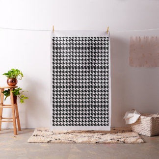 白黒千鳥格子のなデザインの綿織物 ファブリック