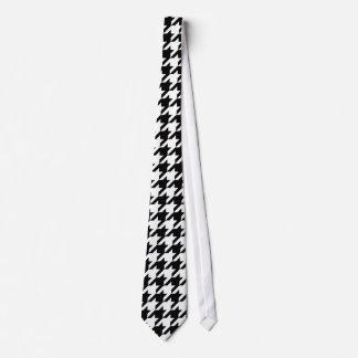 白黒千鳥格子のなパターン首のタイ ネクタイ
