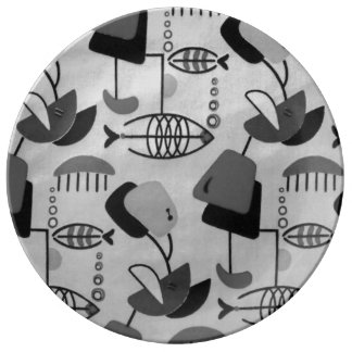 白黒原子パターン磁器皿 磁器プレート