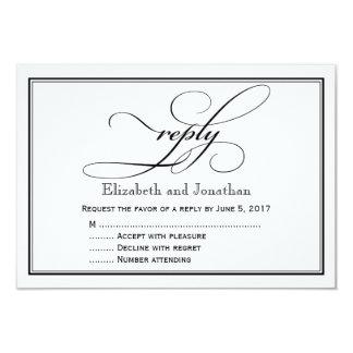 白黒原稿の結婚式の応答カード 8.9 X 12.7 インビテーションカード