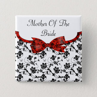 白黒及び赤の結婚式のサテンの花柄 5.1CM 正方形バッジ