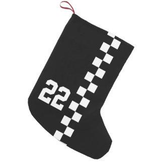 白黒名前入りな競争の旗 スモールクリスマスストッキング