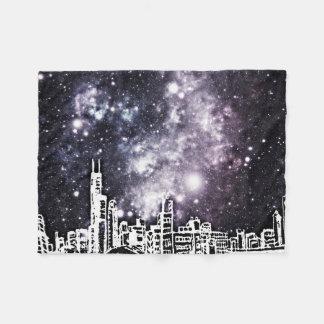 白黒喜劇的なスタイル都市スカイラインの銀河 フリースブランケット