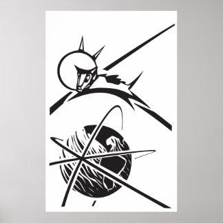 白黒地球上のLaika ポスター